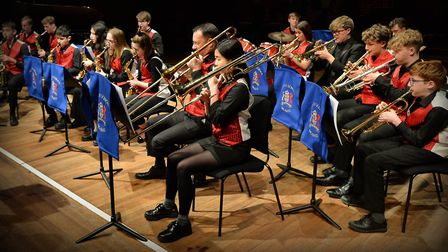 Ipswich School's big band performing at Snape Maltings during their spring concert. Picture: WARREN