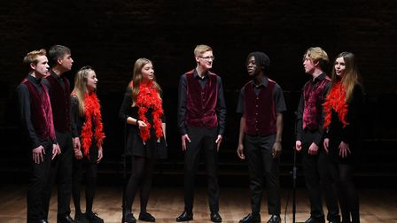 Ipswich School's show choir performing at Snape Maltings during the school's spring concert. Picture