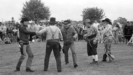 Cowboys entertain the crowds at the Firefighters Rally in 1987 Picture: ARCHANT