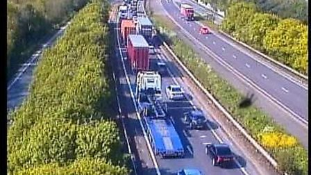 The crash is causing miles of traffic on the A14 leaving Ipswich towards Stowmarket, between Claydon
