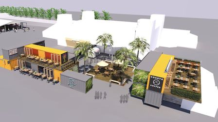 Beach Street, Felixstowe cgi of how the proposed food and retail development, incorporating shipping