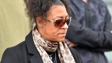 Sharon Box, the mother of Tavis Spencer-Aitkens, outside Ipswich Crown Court. PICTURE: Jamie Honeywo