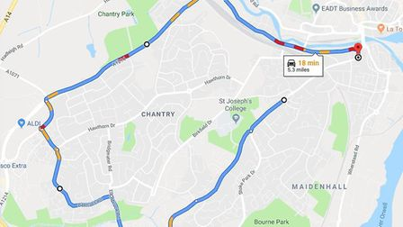 The diversion around the closure on Belstead Road in Ipswich. Picture: GOOGLE MAPS