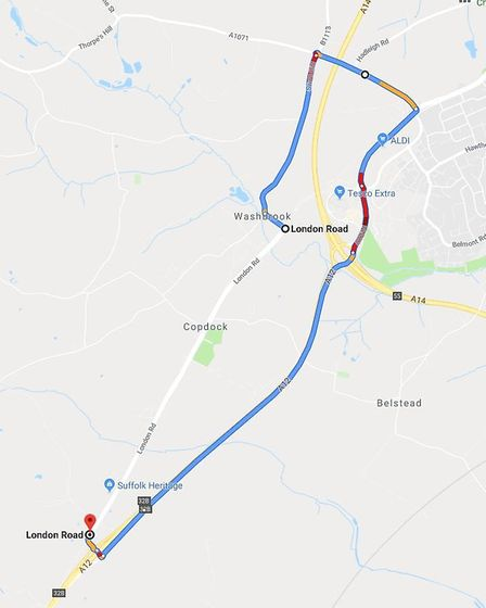 The diversion put in place by Suffolk Highways around the closure of London Road. Picture: GOOGLE MA