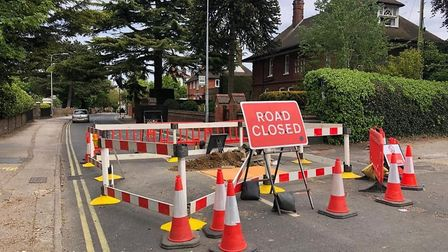 Belstead Road is closed in both directions while gas company Cadent carry out works. Picture: ARCHAN