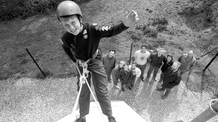 Testing out the new abseiling tower at Hallowtree Scout Activity Centre Picture: PAUL NIXON