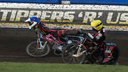 Witches guest Josh Bates takes a tumble in heat eight against Wolves. Picture: Steve Waller ww