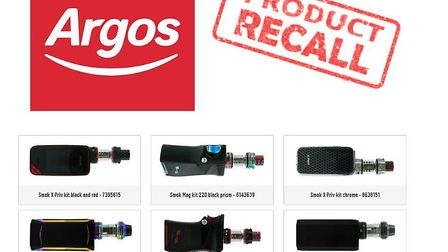 Argos has withdrawn a number of e-cigarettes because the battery sold with them could cause overheat