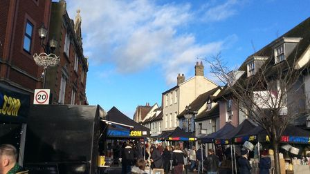 Crowds at The Saints Christmas street market 2018. Picture: CATHY FROST