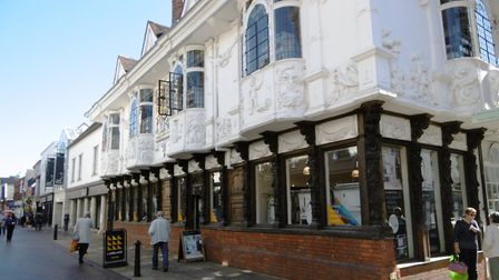 The extent of the pargetting on the Ancient House in Ipswich is clear in this photograph Picture: D