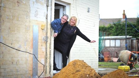 Mandy and Nick Dellar amongst the renovation work that Gee Wizz are carrying out for them. Picture