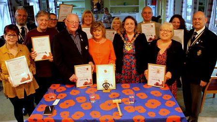 The Ipswich Royal British Legion branch with mayor Jan Perry celebrating their Poppy Appeal year. Pi