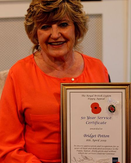 Ipswich Royal British Legion volunteer Bridget Potton was awarded for her 50 year's service to the P