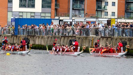 Visitors watching the Dragon Boat races at The Waterfront, Ipswich. Picture: Stephen Waller www.s