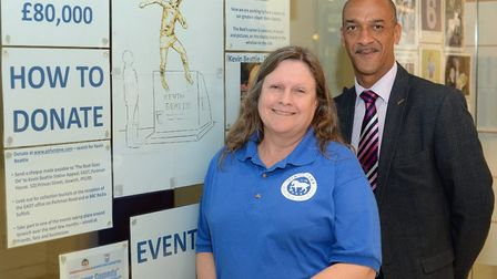 Ipswich Town Heritage Society�'s Elizabeth Edwards with Sailmakers Shopping Centre manager Mike Sorh