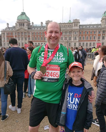 Chris Rose, who ran the race to grant his late wife's last wish, pictured with his son Jack Picture: