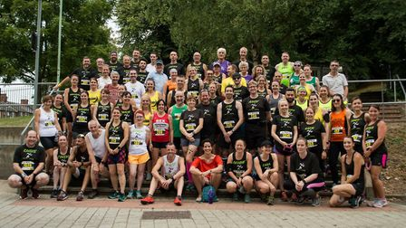 Chris and Angela Rose pictured with their 'Run For Your Life' group. Picture: CHRIS ROSE