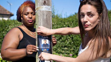 Ipswich Against Gangs' Roxanne Chudleigh and Jordan Laidlow with the 'Knives Take Lives' poster that