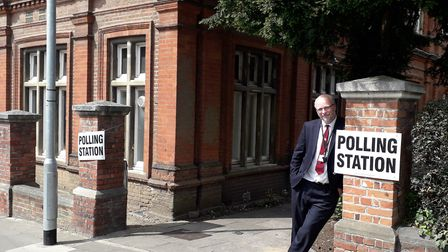Ipswich Council chief executive Russell Williams walked to polling stations around the town. Picture
