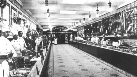 This photograph from Eric Ward shows a typical Sainsburys store with marble floor. Ipswich had two