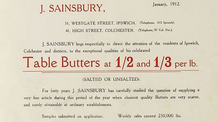 This advert, dated January 1912, commends Sainsbury's butter to local residents at a time of the yea