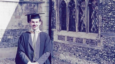 Nick Garrett's graduation day in 1984: a BA Hons in history and education Picture: FAMILY COLLEC