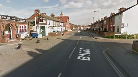 Bramford Road in Ipswich was closed for almost two hours following a crash between a car and a motor