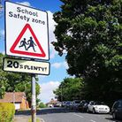 """There is a """"20's plenty"""" sign near the school but no speed bumps. Picture: OLIVER SULLIVAN"""