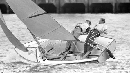 A pair of boating enthusiasts practising their sailing techniques at the docks in 1979 Picture: OWE