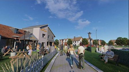 CGI image of how the Orwell Green Garden Village development could look Picture: GLADMAN DEVELOPMENT