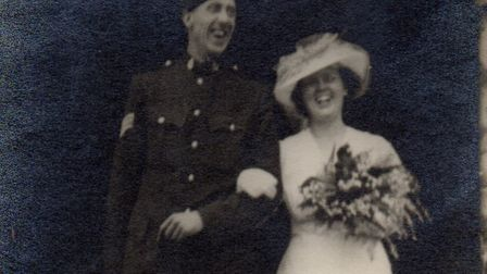 Irene and Eddie Young on their wedding day in Framlingham in 1941 Picture: FAMILY COLLECTION