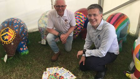 Norman Lloyd Campaign Manager for Elmer's Big Parade Suffolk with Councillor Paul West from Suffolk