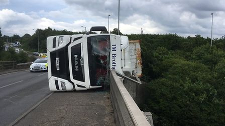 The scene on the A14 at Copdock where a lorry has overturned Picture: NSRAPT