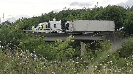 A lorry has overturned on the bridge at Copdock roundabout. Picture: ROXY LOUISE SIER