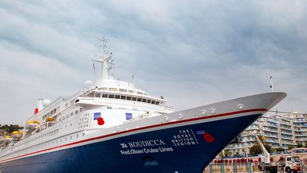 Fred. Olsen Cruise Lines� Boudicca wears its poppies with pride for the Royal British Legion�'s �D-D