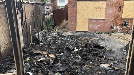 The site of the shed where the fire started on June 2. suffolk fire crews were called to the scene a