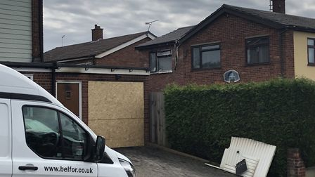 The fire damage reached to the first floor of one of the homes in Dryden Road Picture: JAKE FOXFORD