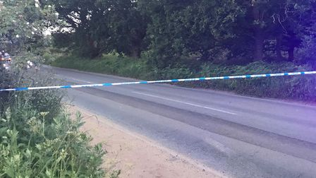 The police cordon at the scene of the accident in Bell Lane, near the junction Foxhall Road, on the