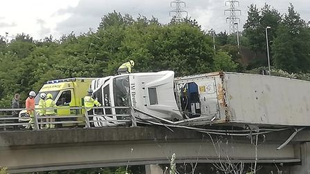 Police have closed the road as they deal with the overturned lorry at Copdock roundabout. Picture: R