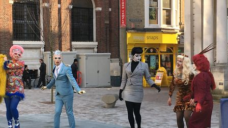 Filming on Ipswich Cornhill for the new Channel 4 series Drag Lab Picture: JASON NOBLE