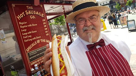 Andrew Babington-Barber from the Hot Sausage Co is celebrating three decades on the Cornhill in Ipsw