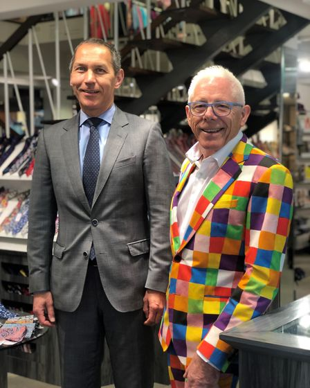William Coe alongside Norman Lloyds wearing his new elmer suit. Picture: ELMER'S BIG PARADE SUFFOLK