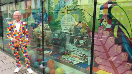 The Coes window, featuring new Elmer display and 'live mannequin' Norman Lloyd. Picture: ELMER'S BIG