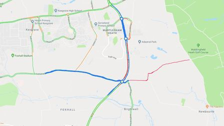 The proposed changes to the A12 in Martlesham. The red lines will be 40mph zones while the blue will