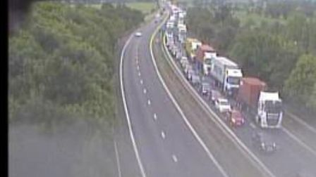 A four car crash on the approach to the Orwell Bridge is causing long delays on the A14. Picture: H