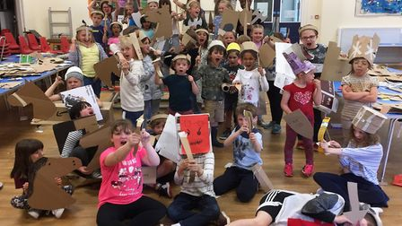 Pupils learned about history through art projects and story-telling with the Rock Paper Scissors act