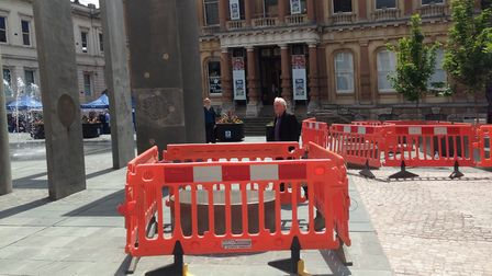 The seats on the Cornhill are being stained to improve safety. Picture: JUDY RIMMER