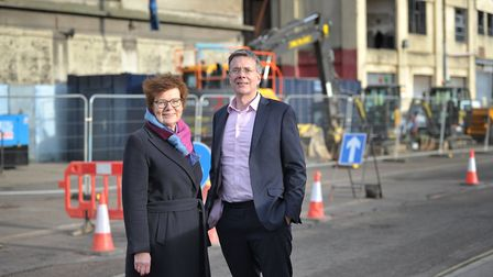 Cllr Mary Evans and Cllr Paul West on St Peters Dock in Ipswich Picture: SARAH LUCY BROWN