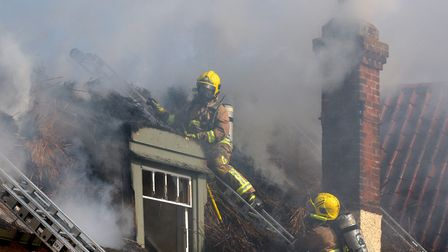 Crews tackling the blaze at the Ship Inn earlier this year Picture: SARAH LUCY BROWN