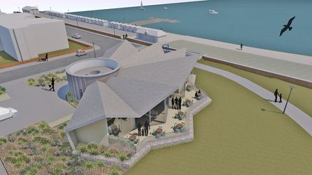 CCF grant cash is to be used to build a Beach Cafe at Martello Park, Felixstowe CGI image: PLAICE D
